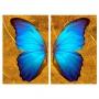 Quadro Borboleta Azul e Dourado Impacto -  Kit 2 telas
