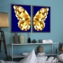 Quadro Borboleta Dourada e Azul Luxo -  Kit 2 telas
