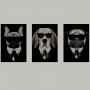 Quadro Cachorros de Terno Divertido - Kit 3 telas