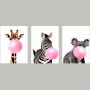 Quadro Decorativo Moderno Girafa Zebra e Coala Bubble Gum  - Kit 3 telas