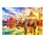 Quadro Elefante Taj Mahal Color Pintura - Tela Única