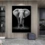 Quadro Elefante Vertical Preto e Branco Coleção Savana Decor - Tela Única