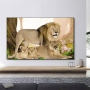 Quadro Família Leão 2 filhotes Floresta - Tela Única