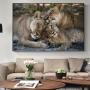 Quadro Família Leão Amor Colorido  - Tela Única