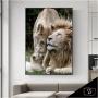 Quadro Família Leão Creme Luxo - Tela Única