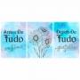 Quadro Fé e Gratidão Azul Floral - Kit 3 telas