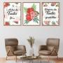 Quadro Fé e Gratidão Floral - Kit 3 telas