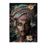 Quadro Feminino Africana Flores - Tela Única
