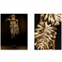 Quadro Feminino Black e Folhas de Ouro - Kit 2 telas
