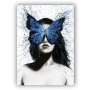 Quadro Feminino Borboleta Azul  Mulher - Tela Única