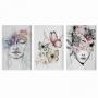 Quadro Feminino Borboletas Jardim de Pensamentos - Kit 3 telas