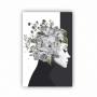 Quadro Feminino Flor em Pensamentos Preto e Branco  - Tela Única