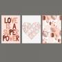 Quadro Feminino Love e Coração - Kit 3 telas