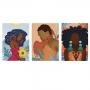 Quadro Feminino Mulher Abstrato Pintura - Kit 3 telas
