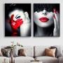 Quadro Feminino Mulher Branco Vermelho e Preto Luxo - Kit 2 telas