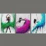Quadro Feminino Mulher Coloridas Dança - Kit 3 telas