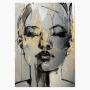 Quadro Feminino Mulher Preto e Dourado Abstrato - Tela Única