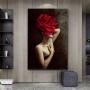 Quadro Feminino Rosa Vermelha - Tela Única