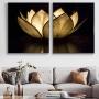 Quadro Flor de Lotus Preto e Dourado Luxo -  Kit 2 telas