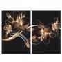 Quadro Flor Lírio Preto e Dourado -  Kit 2 telas