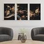 Quadro Flor Lírio Preto e Dourado - Kit 3 telas