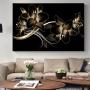 Quadro Flor Lírio Preto e Dourado - Tela Única
