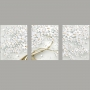 Quadro Flores Branco e Dourado Luxo - Kit 3 telas