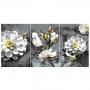 Quadro Flores Cinza e Branco - Kit 3 telas