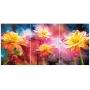 Quadro Flores Coloridas Luxo - Kit 3 telas