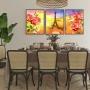 Quadro Flores Coloridas Paris - Kit 3 telas