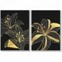 Quadro Flores Delicadas Preto e Dourado Traços Finos  - Kit 2 telas
