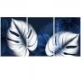 Quadro Flores e Folhas Azul e Branco Luxo - Kit 3 telas