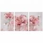 Quadro Flores Rosa e Dourado Delicado - Kit 3 telas
