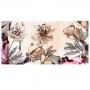 Quadro Flores Rosas Cinza e Rose - Kit 3 telas