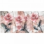 Quadro Flores Rosas Mármore - Kit 3 telas