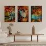 Quadro Flores Secas Outono Coloridas - Kit 3 telas