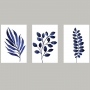Quadro Folhas Delicadas Azul Paz em Detalhes - Kit 3 telas