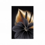Quadro Folhas e Flor Preto e Dourado Premium - Tela Única