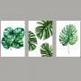 Quadro Folhas Minimalista Verdes Natureza - Kit 3 telas