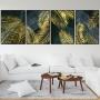 Quadro Folhas Preto e Dourado Luxo - 4 Telas