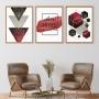 Quadro Geométrico Abstrato Marsalla Vermelho  Home- Kit 3 telas