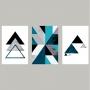 Quadro Geométrico Azul Branco Triangulos  - Kit 3 telas