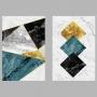 Quadro Geométrico Azul Dourado e Preto - Kit 2 telas
