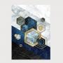 Quadro Geométrico Azul e Dourado II - Tela Única