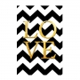 Quadro Geométrico Chevron Preto e Branco Love Ouro - Tela Única