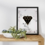 Quadro Geométrico Diamante Preto Mármore  - Tela Única