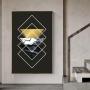 Quadro Geométrico Preto e Dourado - Tela Única