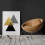 Quadro Geométrico Triangulo Composição Preto Dourado Luxo Gold - Tela Única