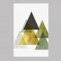 Quadro Geométrico Verde e Dourado 3 - Tela Única