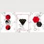 Quadro Geométrico Vermelho  e Preto Diamante  - Kit 3 telas